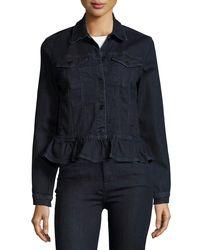 J Brand - Blue Slim Denim Jacket W/ Frill - Lyst