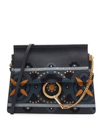 Chloé | Blue Faye Studded Floral Shoulder Bag | Lyst