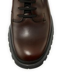 Prada - Brown Calf Leather Lace-up Boot for Men - Lyst