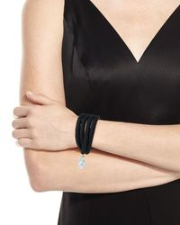 Grazia And Marica Vozza - Black Silk Wrap Bracelet With Baroque Pearl - Lyst