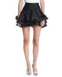 Elie Saab - Black Tiered Ruffle Cocktail Skirt - Lyst