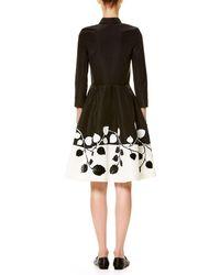 Carolina Herrera - Black 3/4-sleeve Two-tone Shirtdress - Lyst