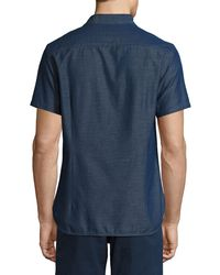 Orlebar Brown - Blue Morton Chambray Tailored Short-sleeve Sport Shirt for Men - Lyst