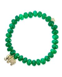 Sydney Evan | 8Mm Faceted Green Onyx Beaded Bracelet With 14K Gold/Diamond Small Elephant Charm (Made To Order) | Lyst