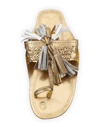 Figue | Metallic Scaramouche Leather Tassel Sandal | Lyst