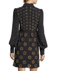 Marc Jacobs Black Circle-embroidered Mock-neck Mini Dress