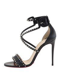 Christian Louboutin - Black Choca Spikes Red Sole Sandal - Lyst