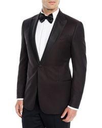 Emporio Armani - Brown Men's Tonal Pattern Wool Dinner Jacket for Men - Lyst