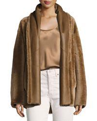 Vince Brown Shawl Collar Reversible Shearling Coat