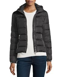 Moncler - Black Oiron Quilted Puffer Coat W/leather Trim - Lyst