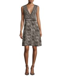 M Missoni - Gray Sleeveless Space-dyed Fit-&-flare Dress - Lyst