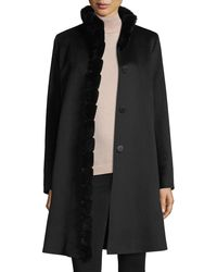 Fleurette - Black Fur-trimmed Stand-collar Wool Coat - Lyst