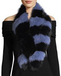 Charlotte Simone Blue Popsicle Fur Scarf