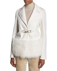 Gabriela Hearst | White Shelby Fur-trim Hook-front Coat | Lyst