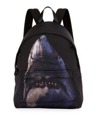 Givenchy - Black Shark-print Nylon Backpack - Lyst