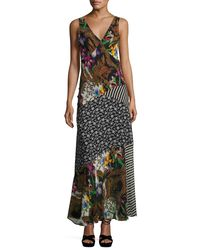 Etro - Black Patchwork Floral Silk Maxi Dress - Lyst