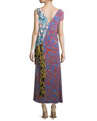Diane von Furstenberg Multicolor Asymmetric Draped Combo Silk Dress