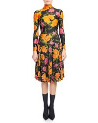 Balenciaga - Black Floral-print Mock-neck Skater Dress - Lyst