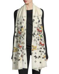 Janavi - White Embellished Butterfly Wool Stole - Lyst