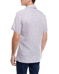 Ermenegildo Zegna Gray Heathered Linen Short-sleeve Sport Shirt for men