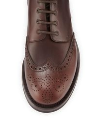 Prada - Brown Gradient Leather Wing-tip Lace-up Boot for Men - Lyst