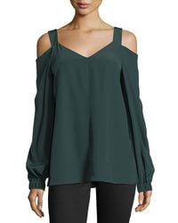 Tibi - Green V-neck Cold-shoulder Silk Tunic - Lyst
