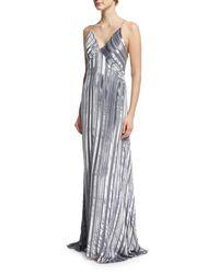 Galvan - Gray Striped Silk & Velvet V-neck Gown - Lyst