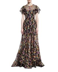 Zac Posen | Black Floral-embroidered Organza Gown | Lyst