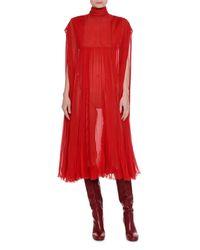 Valentino - Red Mock-neck Pleated Chiffon Dress - Lyst
