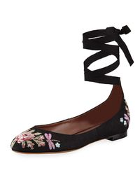 Tabitha Simmons - Black Daria Embroidered Linen Ankle-wrap Flat - Lyst