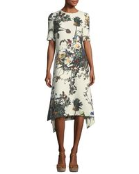 Adam Lippes - Multicolor Half-sleeve Floral-print Trapeze Dress - Lyst