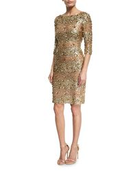 Naeem Khan | Metallic Beaded 3/4-sleeve Fitted Cocktail Dress | Lyst