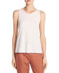 Vince | White Cotton-silk Twist-back Tank Top | Lyst