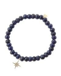 Sydney Evan - Blue Sapphire Rondelle Beaded Bracelet With 14K Gold/Diamond Small Starburst Charm (Made To Order) - Lyst