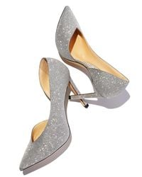 Jimmy Choo - Gray Sophia Asymmetric Point-toe Glitter Pumps - Lyst