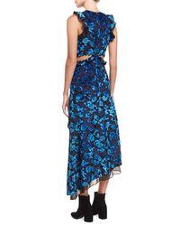 Self-Portrait Blue Floral Devore Velvet Sleeveless Cutout Asymmetric Dress
