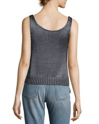 Vince - Blue Cable-knit Silk Crop Tank Top - Lyst