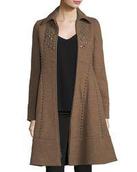 Nanette Lepore | Multicolor Grace Studded Zip-front Wool Pea Coat | Lyst