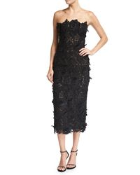 32ef98144a4 J. Mendel Strapless Guipure Lace Cocktail Dress in Black - Lyst