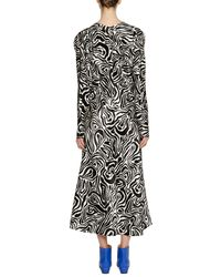 Marni - Black V-neck Long-sleeve Zebra-print Ankle-length Dress - Lyst