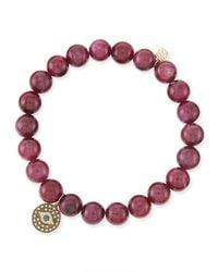 Sydney Evan - Purple 8mm Ruby Bead Bracelet With Evil Eye Charm - Lyst