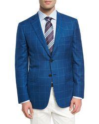Brioni - Blue Windowpane Wool-linen-silk Sport Coat for Men - Lyst
