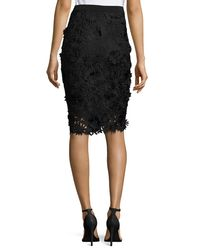 MILLY | Black 3d Floral-embroidered Lace Pencil Skirt | Lyst