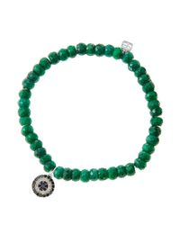 Sydney Evan | Green 6Mm Faceted Emerald Beaded Bracelet With 14K White Gold/Diamond Small Evil Eye Charm (Made To Order) | Lyst