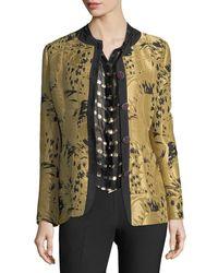 Etro - Yellow Golden Jacquard Jewel-button Long-sleeve Topper Jacket - Lyst