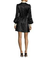 Marc Jacobs | Black Collared Metallic Chevron Charmeuse Dress | Lyst