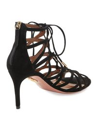 Aquazzura - Black Ivy Lace-up Suede 75mm Sandal - Lyst