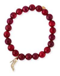 Sydney Evan - Beaded Red Agate Bracelet With Diamond Stiletto Charm - Lyst