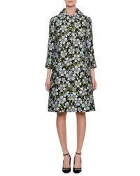 Dolce & Gabbana - Black Single-breasted Floral-jacquard A-line Coat - Lyst