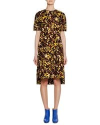 Marni - Multicolor Short-sleeve Crewneck A-line Printed Cotton Woven Dress - Lyst